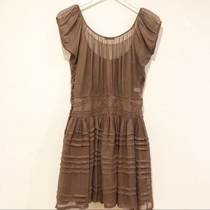 Bottega Veneta Silk Semi Sheer Taupe Mini Dress